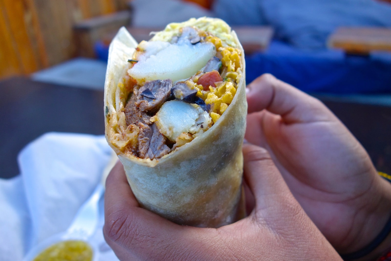 New Mexican Green Chile & Wild Boar Bacon Breakfast Burritos - Beck & Bulow