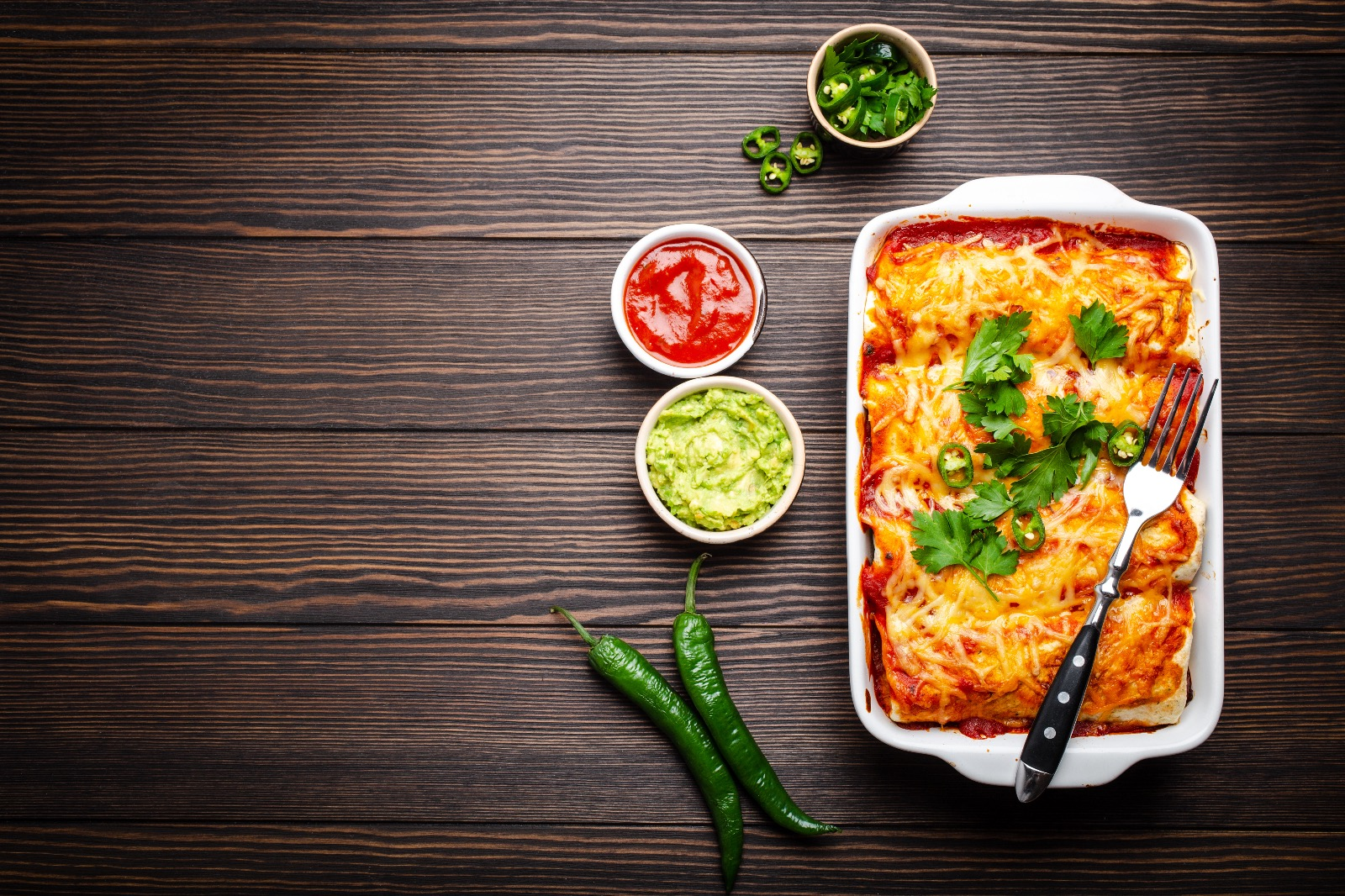 Baked Cheesy Chicken Enchiladas With Hatch Green Chiles - Beck & Bulow