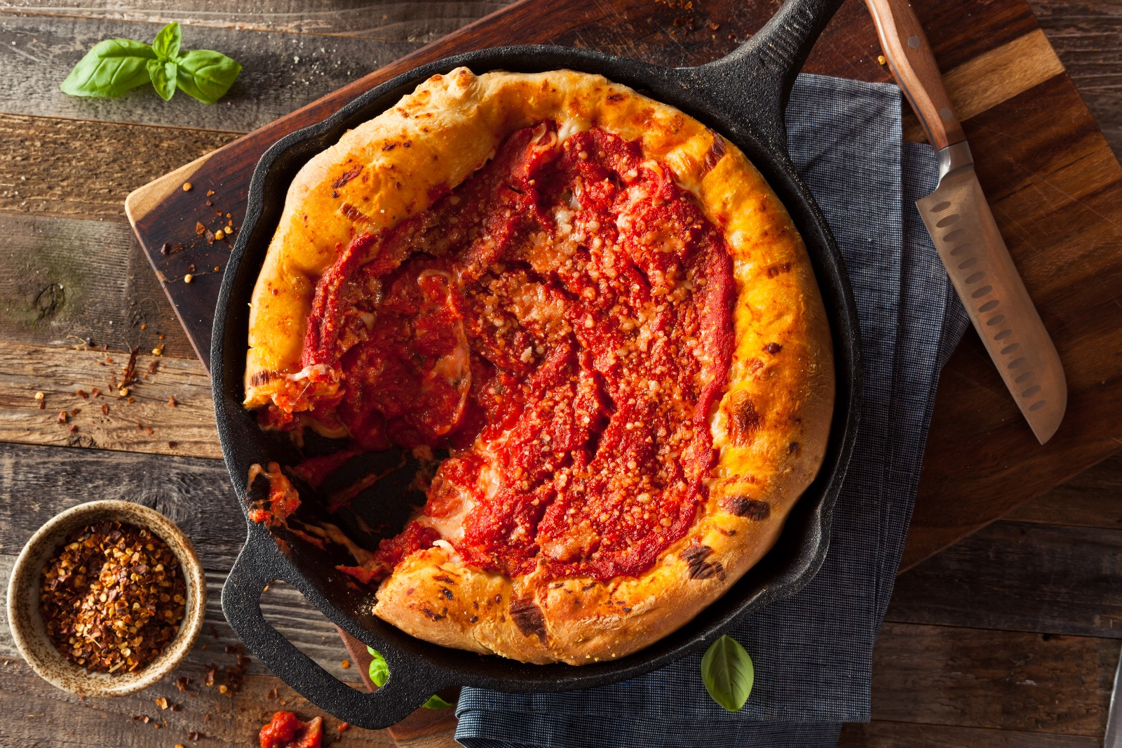 Chicago Style Pizza With Bison, Duck Bacon & Mushrooms - Beck & Bulow