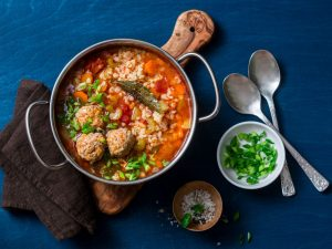 Moroccan Spiced Meatball Soup With Grass Fed Ground Beef - Beck & Bulow
